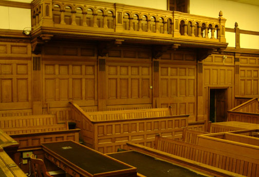 View looking over the Clerk to the Courts bench towards the public gallery